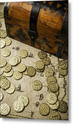 Chest With Pirate Treasure Metal Print by Garry Gay