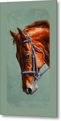 Chestnut Dressage Horse Phone Case Metal Print by Crista Forest