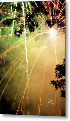 Chetola Yellow Fireworks Metal Print by Meta Gatschenberger