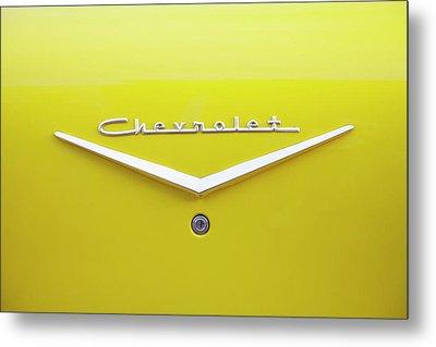 Chevrolet Bel Air In Yellow Metal Print by Toni Hopper
