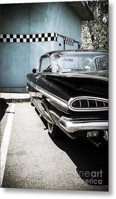 Chevrolet Impala In Front Of American Diner Metal Print by Perry Van Munster