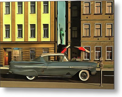 Chevrolette Impala At The Big Apple Metal Print