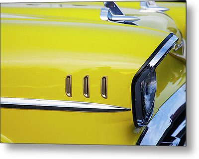 Chevy Bel Air Abstract In Yellow Metal Print by Toni Hopper