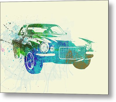 Chevy Camaro Watercolor Metal Print