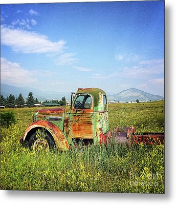 Chevy In A Field Metal Print