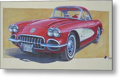 Metal Print featuring the drawing Chevy by Mike Jeffries