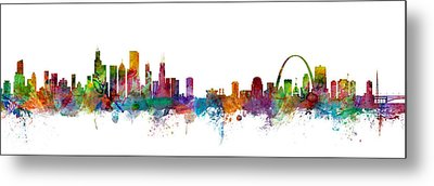 Chicago And St Louis Skyline Mashup Metal Print by Michael Tompsett