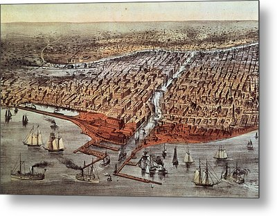 Chicago As It Was Metal Print by Currier and Ives