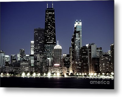Chicago At Night High Resolution Metal Print by Paul Velgos
