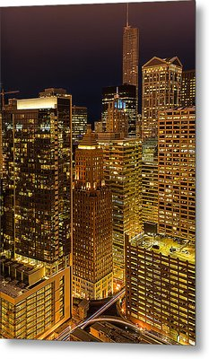 Chicago At Night Metal Print by Joni Eskridge