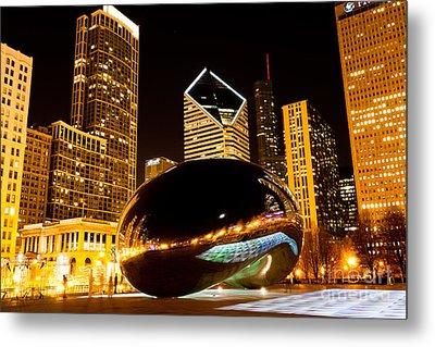 Chicago Bean Cloud Gate At Night Metal Print
