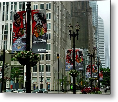 Chicago Blackhawk Flags Metal Print by Ely Arsha