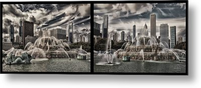 Chicago Buckingham Fountain Summer Storm Passing Multi Panel Metal Print by Thomas Woolworth