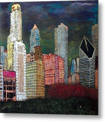 Chicago Cityscape Metal Print by Char Swift