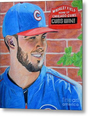 Metal Print featuring the drawing Chicago Cubs Kris Bryant Portrait by Melissa Goodrich
