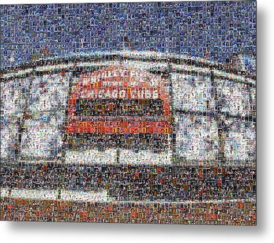 Chicago Cubs Mosiac Art Print Of Wrigley Field Made Of Cub Player Card Images. Metal Print