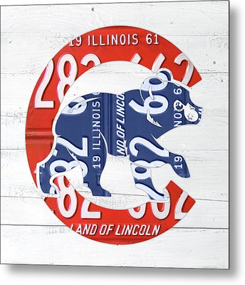 Chicago Cubs Retro Vintage Baseball Logo License Plate Art Metal Print