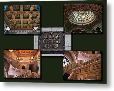 Chicago Cultural Center Collage Metal Print by Thomas Woolworth