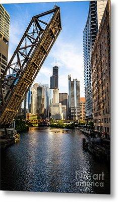 Chicago Downtown And Kinzie Street Railroad Bridge Metal Print