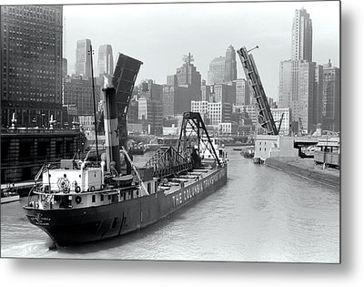 Metal Print featuring the photograph Chicago Draw Bridge 1941 by Daniel Hagerman