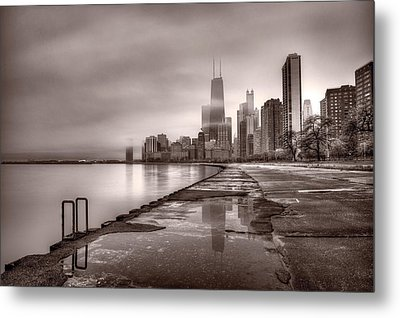 Chicago Foggy Lakefront Bw Metal Print by Steve Gadomski