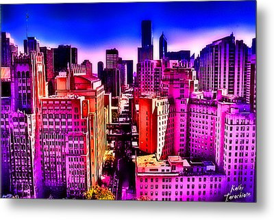 Metal Print featuring the photograph Chicago Glowing by Kathy Tarochione