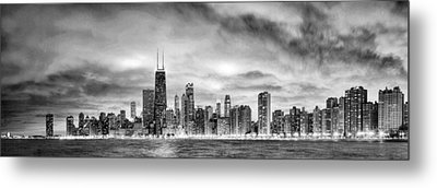 Chicago Gotham City Skyline Black And White Panorama Metal Print