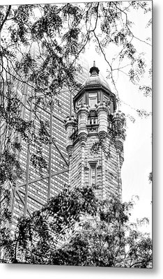 Metal Print featuring the photograph Chicago Historic Water Tower Fog Black And White by Christopher Arndt