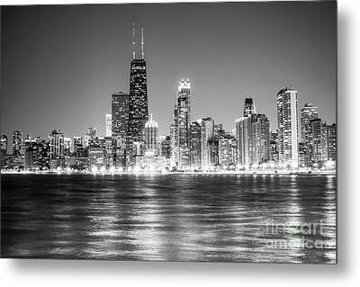 Chicago Lakefront Skyline Black And White Photo Metal Print by Paul Velgos