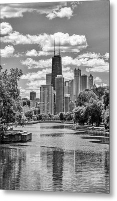 Metal Print featuring the painting Chicago Lincoln Park Lagoon Black And White by Christopher Arndt