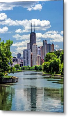 Metal Print featuring the painting Chicago Lincoln Park Lagoon by Christopher Arndt