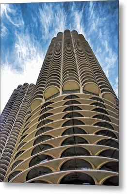 Metal Print featuring the painting Chicago Marina Towers by Christopher Arndt