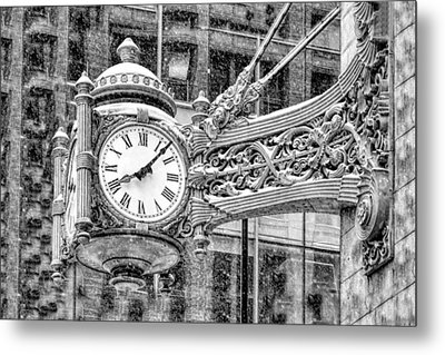 Metal Print featuring the photograph Chicago Marshall Field State Street Clock Black And White by Christopher Arndt