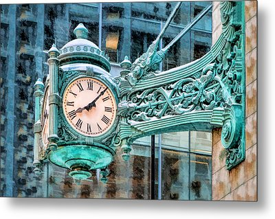 Metal Print featuring the painting Chicago Marshall Field State Street Clock by Christopher Arndt
