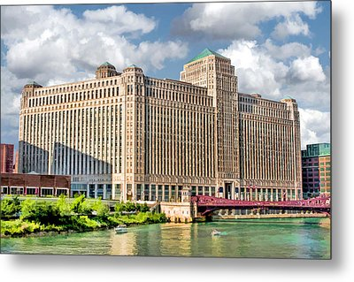 Metal Print featuring the painting Chicago Merchandise Mart by Christopher Arndt