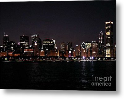 Chicago Night Metal Print by Cathy Weaver