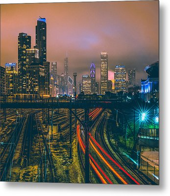 Chicago Night Skyline  Metal Print by Cory Dewald