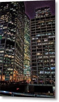 Chicago November Night Monroe St Bridge Vertical Pa 01 Metal Print by Thomas Woolworth