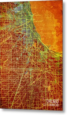 Chicago Old Map Metal Print