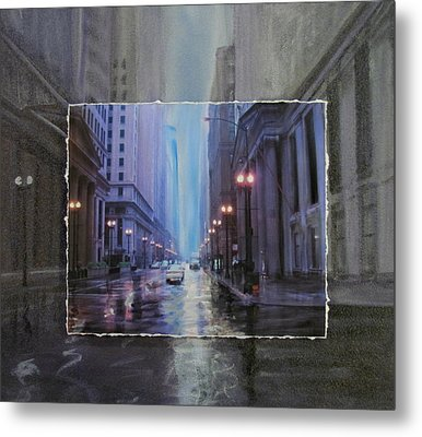 Chicago Rainy Street Expanded Metal Print by Anita Burgermeister