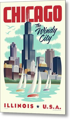 Chicago Retro Travel Poster Metal Print