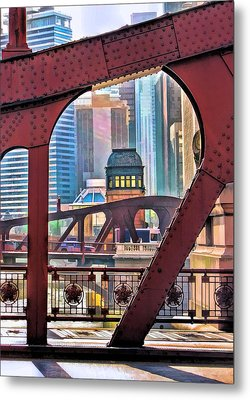 Metal Print featuring the painting Chicago River Bridge Framed by Christopher Arndt