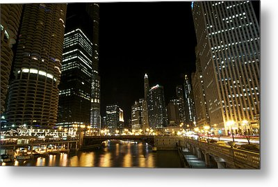 Chicago River Nights Metal Print