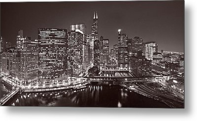 Chicago River Panorama B W Metal Print by Steve Gadomski