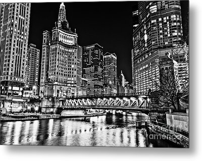 Chicago River Skyline At Night Picture Metal Print