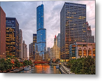 Chicago Riverwalk Equitable Wrigley Building And Trump International Tower And Hotel At Sunset  Metal Print