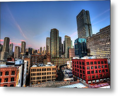 Metal Print featuring the photograph Chicago Rooftop And Sunset by Shawn Everhart