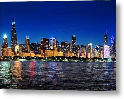 Chicago Shorline At Night Metal Print