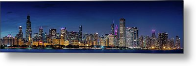Metal Print featuring the photograph Chicago Skyline After Sunset by Emmanuel Panagiotakis