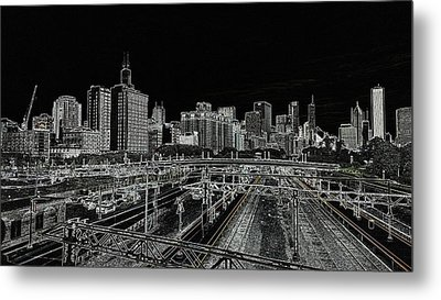Chicago Skyline And Tracks Metal Print